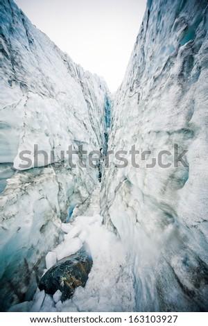 The famous Fox Glacier, West Coast, New Zealand   - stock photo