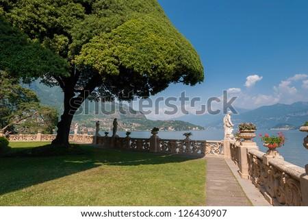 The famous garden of Villa Del Balbianello - stock photo