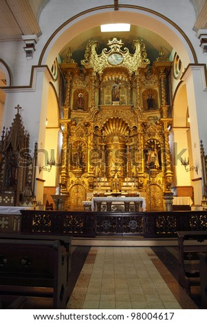 The Famous Golden Alter In The Church Of San Jose, Casco Viejo, Panama City - stock photo