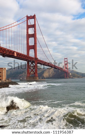The famous Golden Gate Bridge in San Francisco California from the east - stock photo