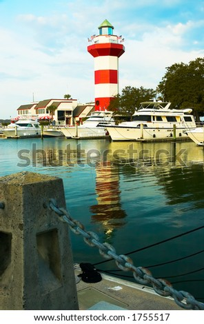 The famous Hilton Head Harbor town Lighthouse. More with keyword Group12C. - stock photo
