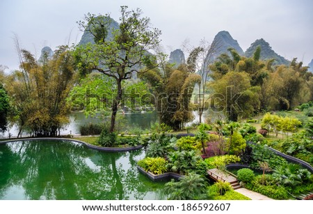 The famous landscape of Guilin in yangshuo,Guangxi province of China. - stock photo