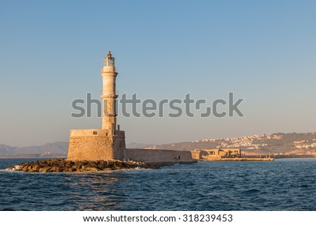 The famous lighthouse in Chania, Crete, Greece. One of the oldest surviving lighthouse in the world - stock photo