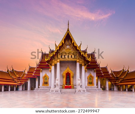 The famous marble temple Benchamabophit from Bangkok, Thailand - stock photo