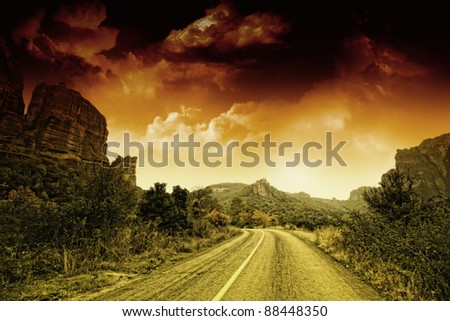 The famous Meteora Monasteries, Greece - stock photo