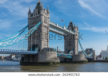 The famous national landmark of Tower Bridge crossing the River Thames in central London, England. - stock photo