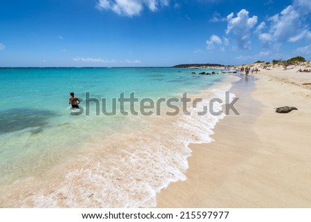 The Famous Pink Sand Beach Of Elafonissi ( Elafonisi ) In Crete, Greece - stock photo