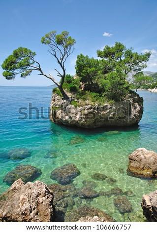 the famous Rock of Brela at the Makarska Riviera,Dalmatia,Croatia - stock photo