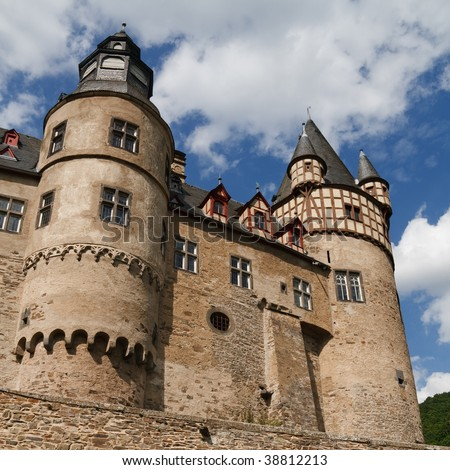 The famous Schloss Buerresheim (Burresheim Castle) is located in the Eifel area in Rhineland-Palatinate, Germany, near the town of St. Johann (Mayen). - stock photo