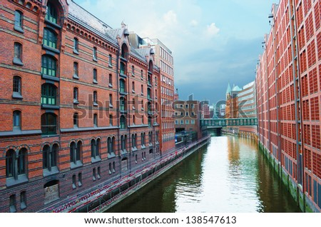 The famous Speicherstadt in Hamburg, Germany. - stock photo