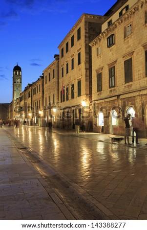 The famous Stradun street in Dubrovnik at night - stock photo