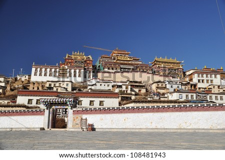 the famous temple in shangri-la , yunnan , china - stock photo