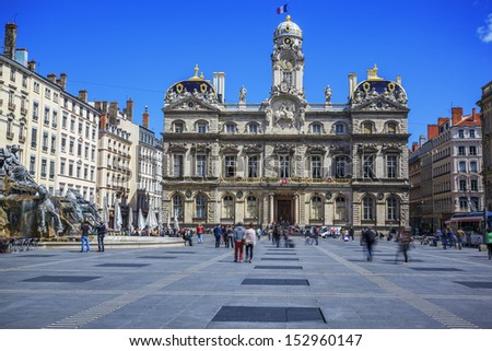 The famous Terreaux square in Lyon city, France - stock photo
