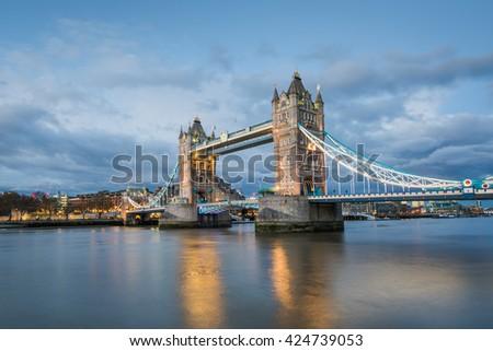 The famous Tower Bridge at dusk, London, UK - stock photo