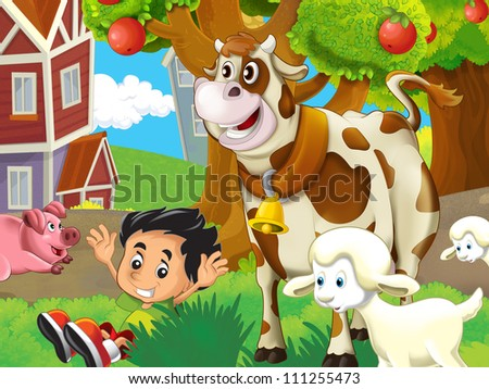 The farm illustration for kids 2 - stock photo