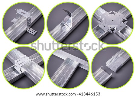 The fastenings for plasterboard, profile for plasterboard, plasterboard fastening, set of building profiles, building materials, steel profiles for repair, construction works, Isolated on white - stock photo