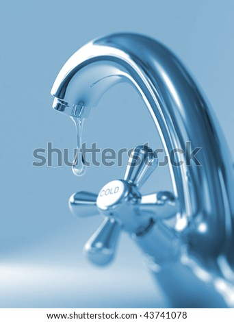 The faucet and last drop cold of water. (defocus) - stock photo