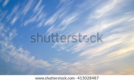 The feather cloud on sunrise - stock photo