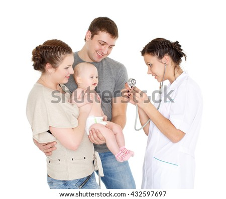 The female doctor with a stethoscope and  young parents with little baby stand on a white background. Healthcare. - stock photo