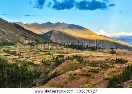 The fields around the ruins of Puka Pukara in the capital of Incas, Cusco, Peru - stock photo