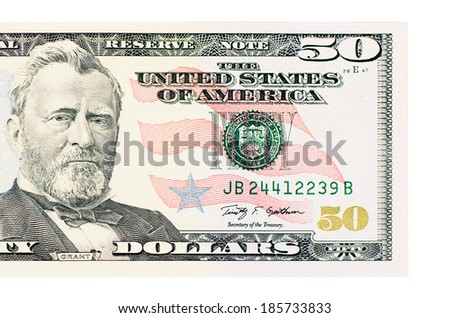 The fifty dollars isolated on white background - stock photo