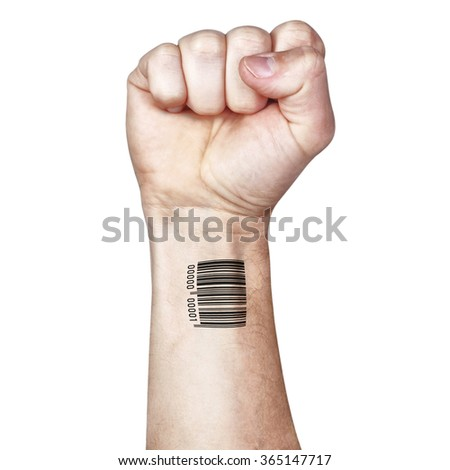 The fight against mass control confidentially. Fist and bar code. - stock photo