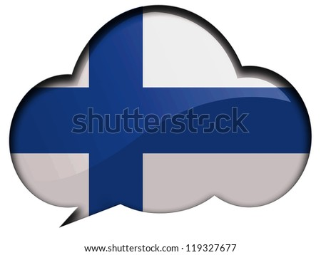 The Finnish flag painted on speaking or thinking bubble - stock photo