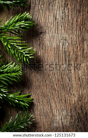 the fir branch on wooden backgound - stock photo