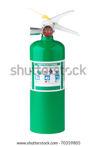 The fire extinguisher tank isolated on white - stock photo