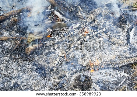 The fire was extinguished - stock photo