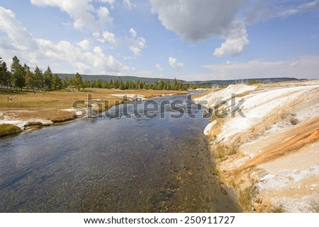 The Firehole River in the Upper Geyser Basin in Yellowstone National Park - stock photo