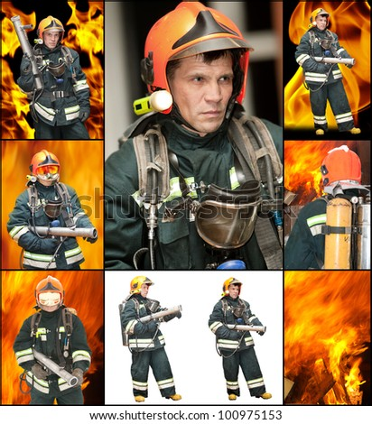 The fireman in regimentals against fire - stock photo