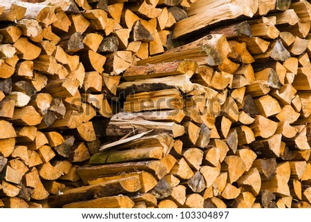 the firewood combined in two ranks for a furnace kindling - stock photo