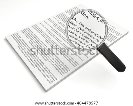The first amendment papers.loupe on first article. (with readable text) - stock photo