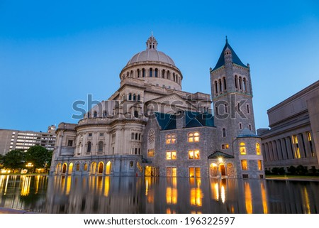 The First Church of Christ Scientist in Christian Science Plaza  at twilight in Boston, MA, USA  - stock photo