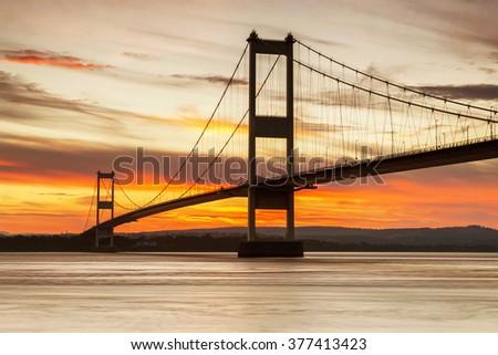 The First Severn Bridge, Avon, England, U.K. - stock photo