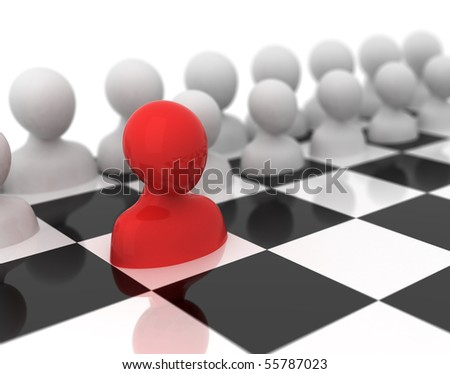 The first step in a strategic game. - stock photo