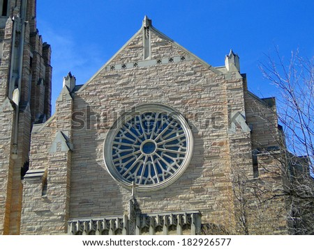 The First United Methodist Cathedral of the Rockies opened in Boise in 1960 and is a famous Idaho landmark.                              - stock photo