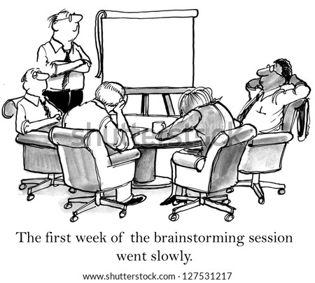 The first week of the brainstorming session went slowly. - stock photo