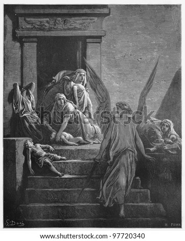 The firstborn of Egypt are slain in the final plague - Picture from The Holy Scriptures, Old and New Testaments books collection published in 1885, Stuttgart-Germany. Drawings by Gustave Dore. - stock photo