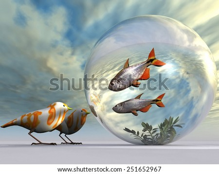 the fish and the birds - stock photo