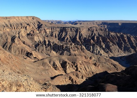 The Fish River Canyon in Namibia - stock photo