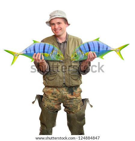 The fisherman with big fish. Success concept. - stock photo