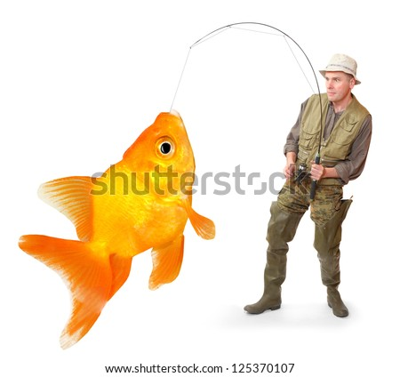 The fisherman with big fish - The Goldfish (Carassius auratus). Success concept. - stock photo