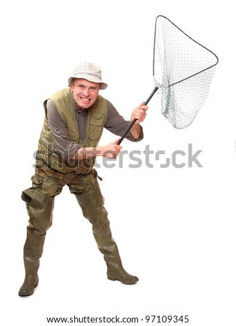 The fisherman with landing net. - stock photo