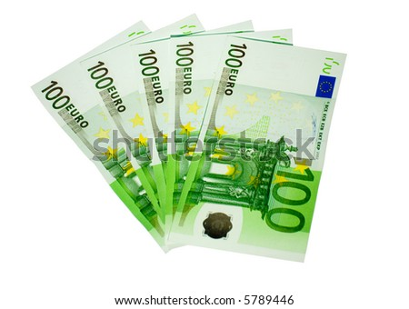 the five hundred euro banknotes isolated on white background - stock photo