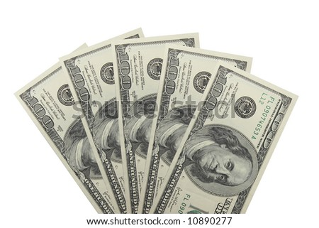 The five hundreds dollar banknotes isolated on a white background - stock photo