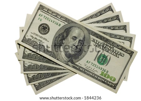 The five hundreds dollars with clipping path - stock photo