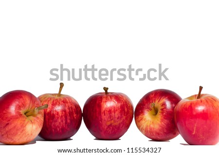 The five red apple fruit and a white background. - stock photo