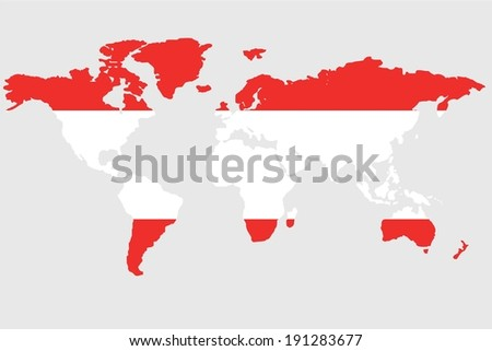 The flag of Austria in the outline of the world - stock photo